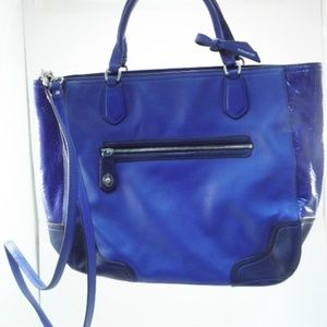 Coach Two Tone Blue Leather 2 Way Crossbody Tote